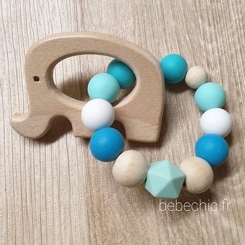 Anneau de dentition Eléphant silicone, turquoise,  bois, blanc