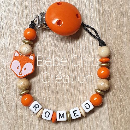 Attache sucette prénom personnalise Renard, Or, bois et orange