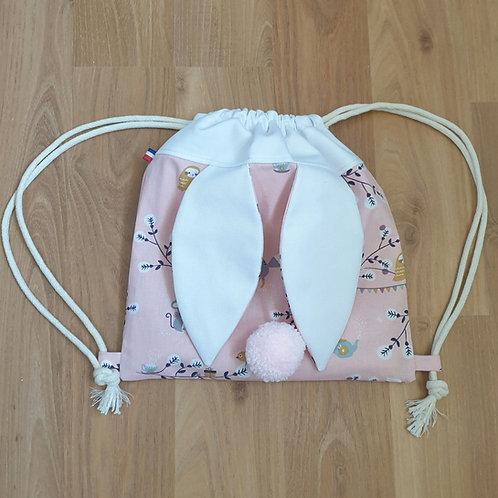 Sac à dos Pochon pour enfant, modèle rose et blanc, petite souris