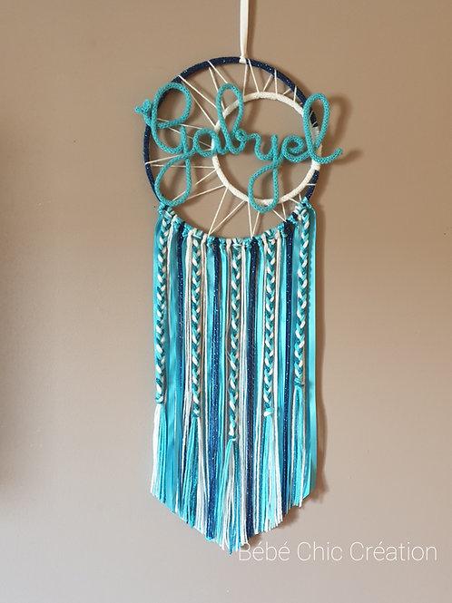 Attrape rêves prénom personnalisable Turquoise, bleu et blanc