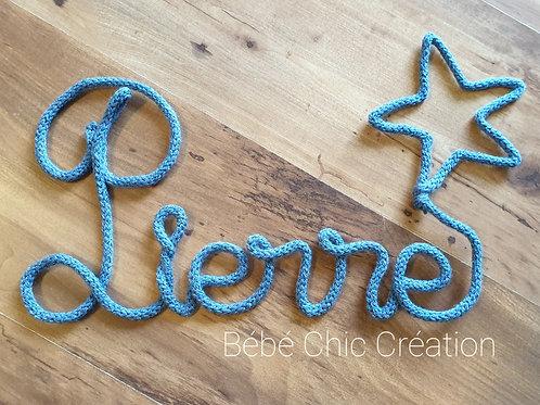 Prénom en tricotin Bleu paillette de 3 à 10 lettres