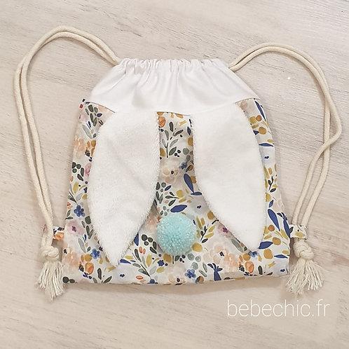 Sac à dos Pochon pour enfant, modèle Lapinou, tissu créatrice cristal w design