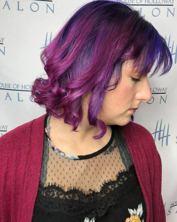 fashion colors, purple hair, magenta hair, multiple colors, haircut, hair curled, lincoln ne salon, hairstylist, mens cut, womens cut
