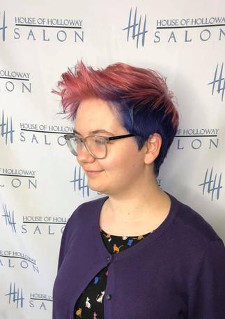 fashion colors, purple hair, magenta hair, multiple colors, haircut, hair curled, lincoln ne salon, hairstylist, mens cut, womens cut