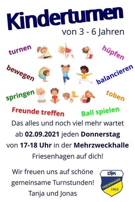Kinderturnen (3-6 Jahre) startet wieder ab September