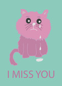 Sad Cat Greetings Card