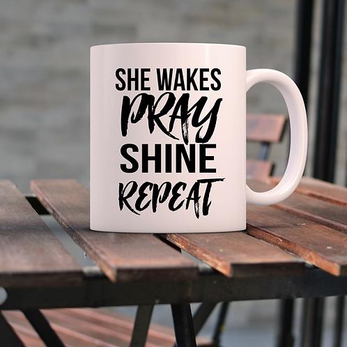 She Wakes Coffee Mug