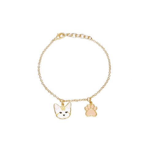 Gubjung & Friends - Stripe Cat & Paw Bracelet (ข้อมือ 2 จี้ แมวลาย+เท้าหมา)