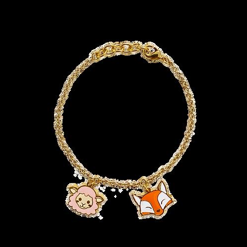 BL 2 PD - Farm Fox & Sheep Bracelet (สร้อยข้อมือ 2 จี้ แกะ+จิ้งจอก)
