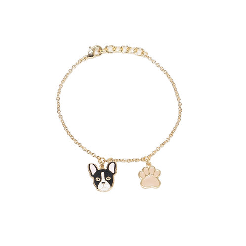 Gubjung & Friends - Bulldog & Paw Bracelet (ข้อมือ 2 จี้ บลูด็อก+เท้าหมา)