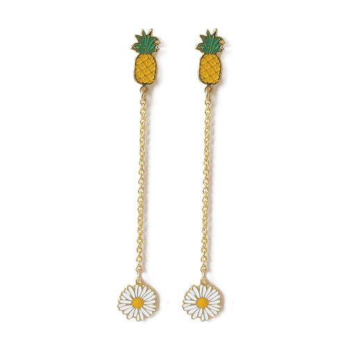 Hang Earring - Pineapple with daisy