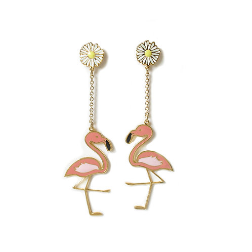 Hang earring - Flamingo with Daisy