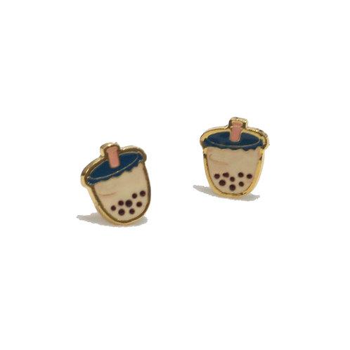 Sweet Addict - Boba Milk Tea earring (ต่างหูชานม)