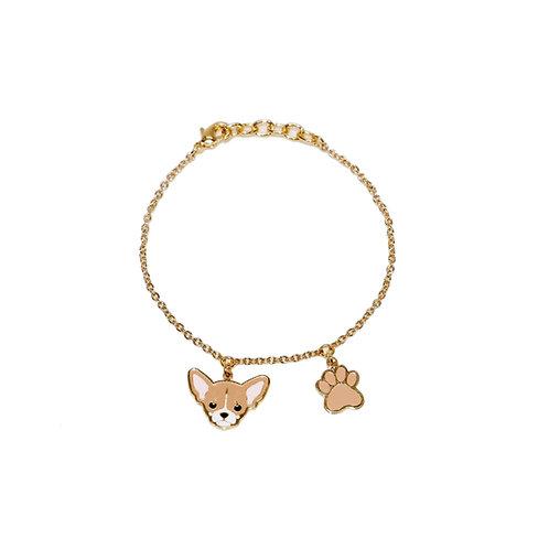 Gubjung & Friends - Chihuahua & Paw Bracelet (ข้อมือ 2 จี้ ชิวาวา+เท้าหมา)