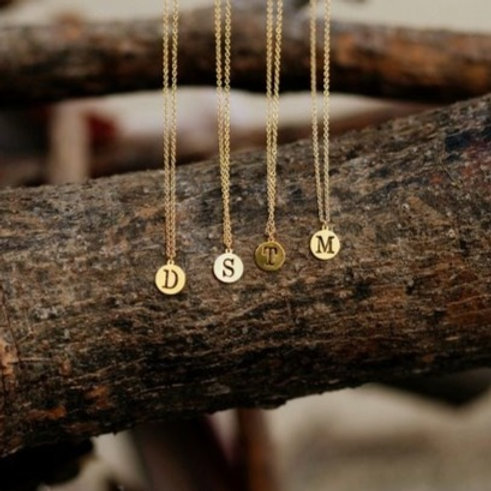 Circle Initial Letters Necklace