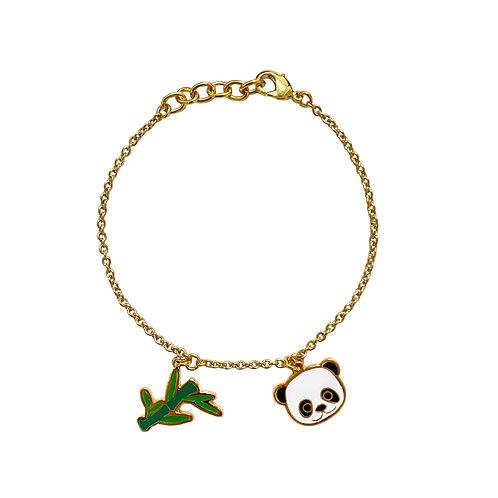 BL 2 PD - Panda & Bamboo Bracelet (ข้อมือ 2 จี้ แพนด้า+ใบไผ่)