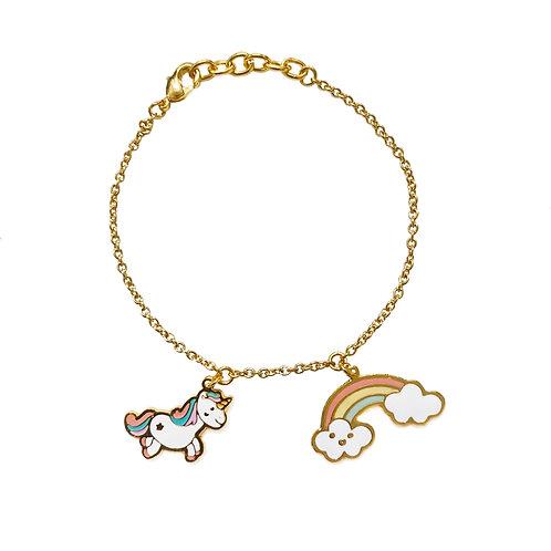 BL 2 PD - Unicorn & Rainbow Bracelet (ข้อมือ 2 จี้ ยูนิคอร์น+รุ้ง)