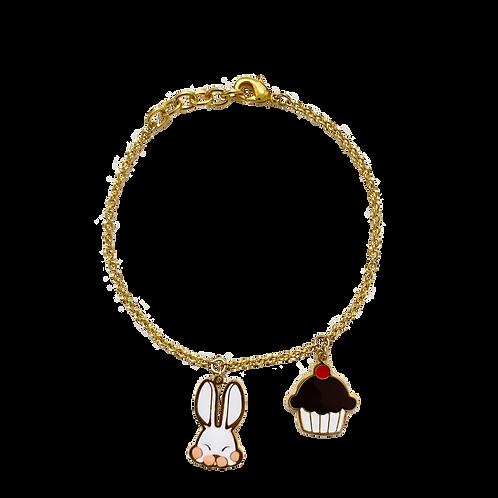 BL 2 PD - Farm Rabbit & Cupcake Bracelet (สร้อยข้อมือ 2 จี้ กระต่าย+คัพเค้ก)
