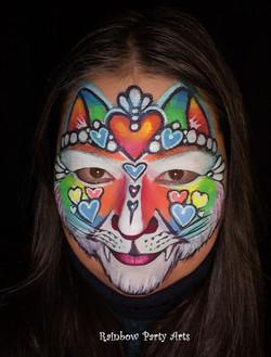 Rainbow hearts cat