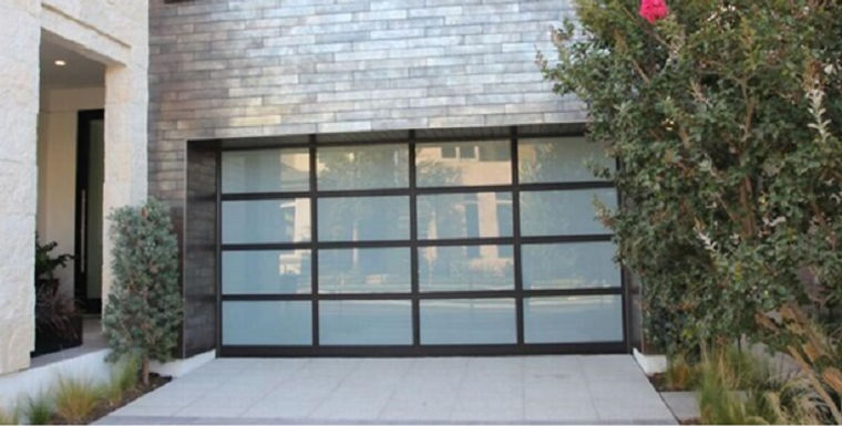 Full-View Black Aluminum Garage Doors