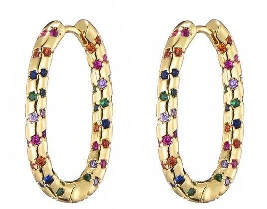 Earrings zirconi colors  steelbase goldplated