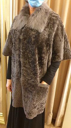 Coat reversible Lam (leather) greyisch brown