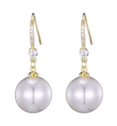 Earrings freshwater pearl and zircon  goldplatedsteel