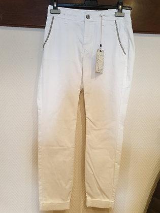 Red Button witte chino broek met zilver details