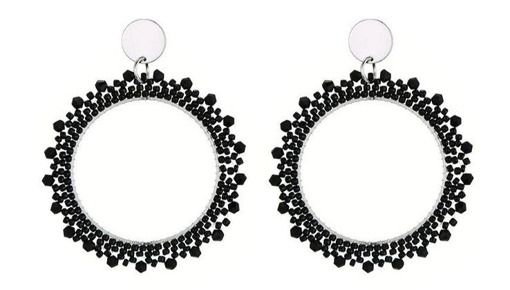 Oorbellen RoundTresse and Miyuki beads black