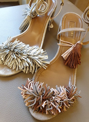 Aquazzurra sandals off white silver