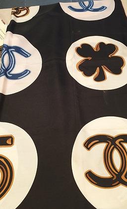 Chanel vintage silk scarf LOGO