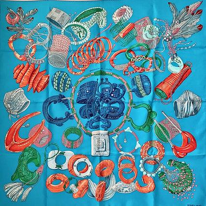 Hermes carre 90x90 Bracelets de Lumiere turquoise