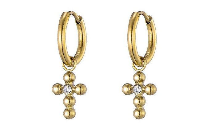 Earrings  Crucifix  pendent  goldlook