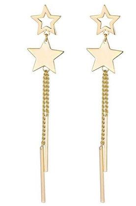 Earrings Stars pendent steel goldlook
