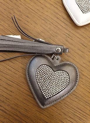 Keychain silver anthracite strass