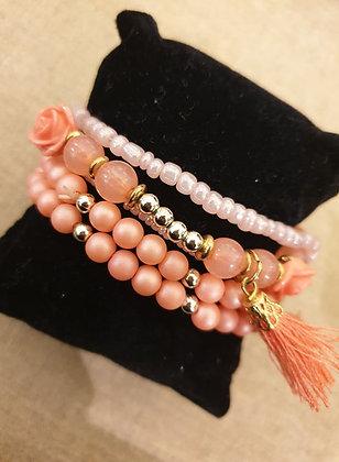 Bracelets set soft pink