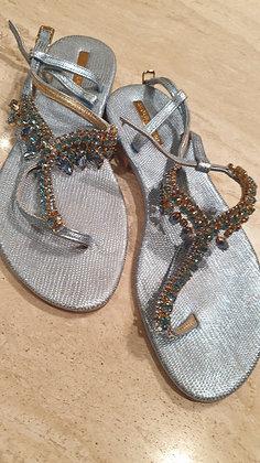 Azzurraa sandals Swarovski turquoise preloved