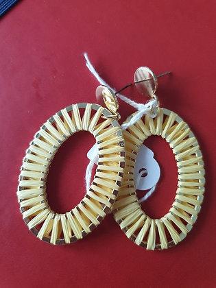 Oorbellen Coton raffia geel
