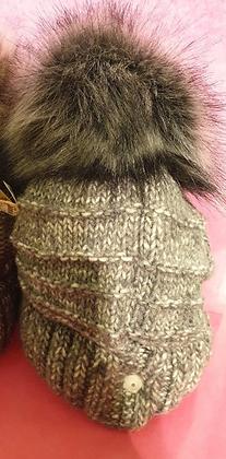 Muts gebreid -nepbont grey