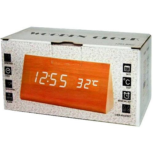 Настольные цифровые часы Wooden Clock 1301