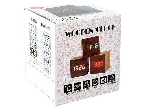 Настольные цифровые часы Wooden Clock 1293