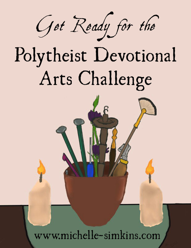 """Cup of art supplies between two candles with the words """"Get Ready for the Polytheist Devotional Arts Challenge"""""""