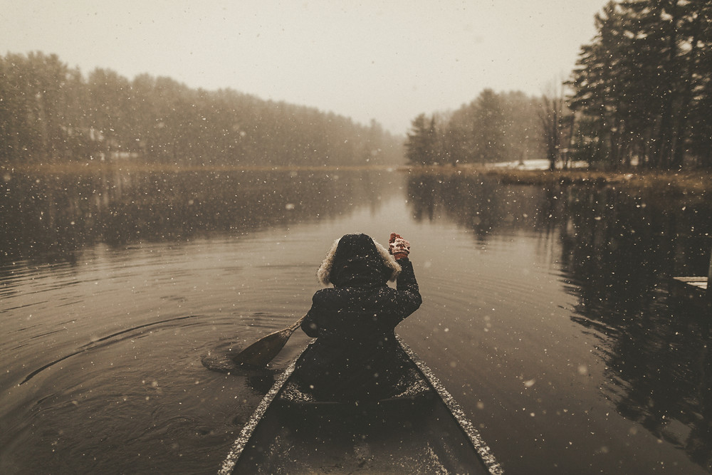 Person in Canoe in Snow