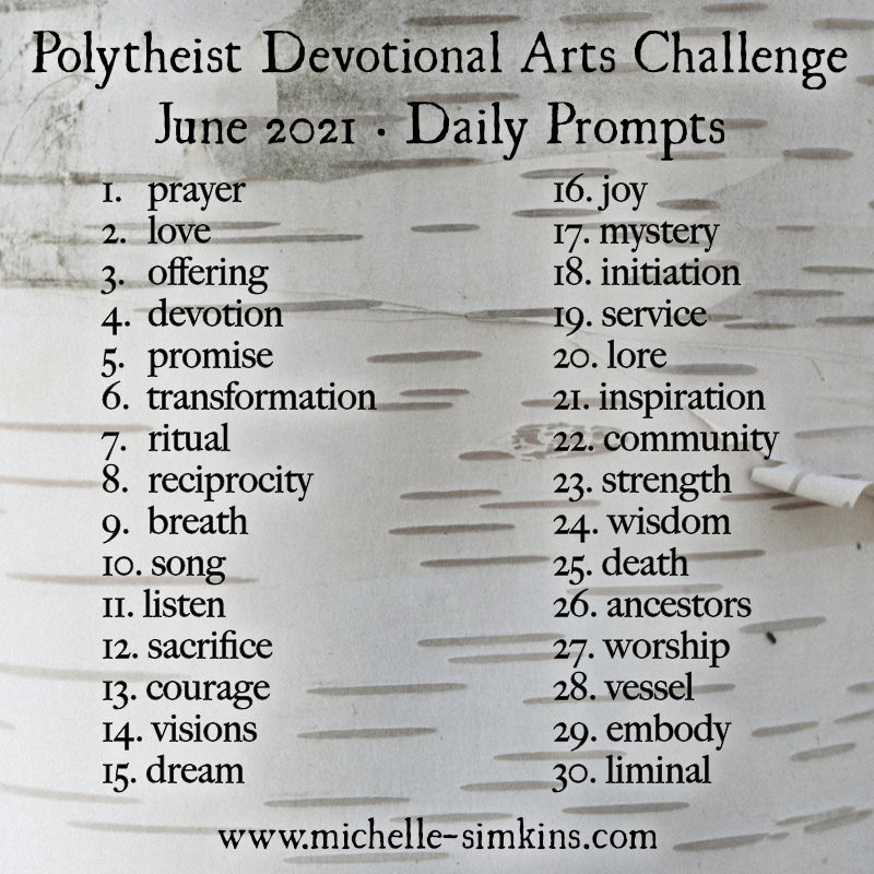 Birch bark background with a list of daily prompts for the challenge (prompts are also listed in post)