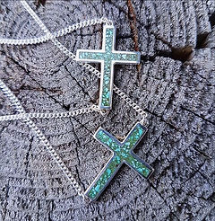Crushed Turquoise Cross