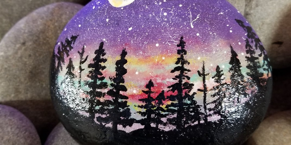 Starry Night Forest Stones Painting Workshop