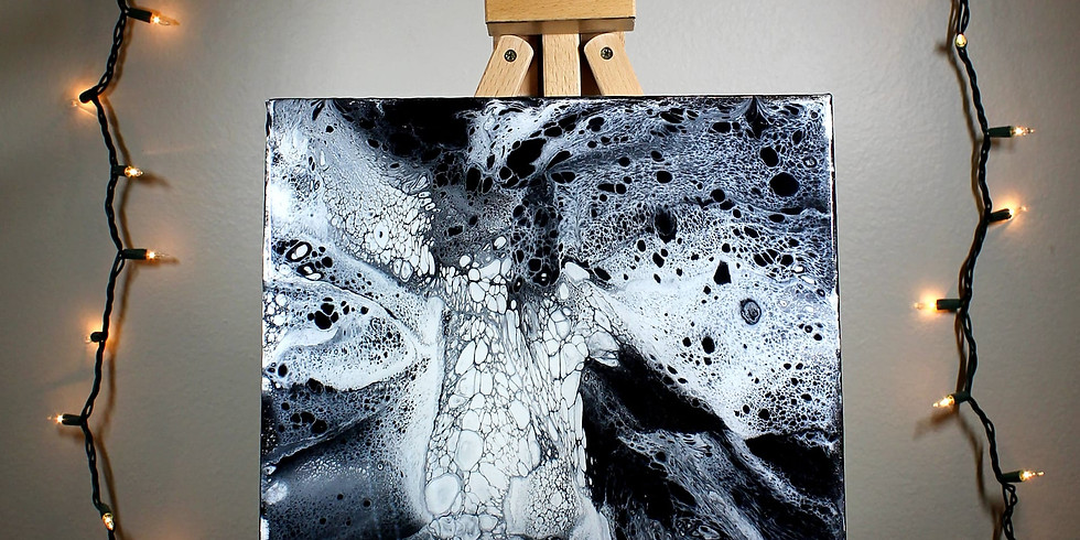 Beginner Fluid Art Classic Black & White Acrylic Pour class (1)