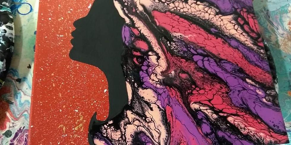 DIY Goddess Acrylic Fluid Swipe Art Workshop