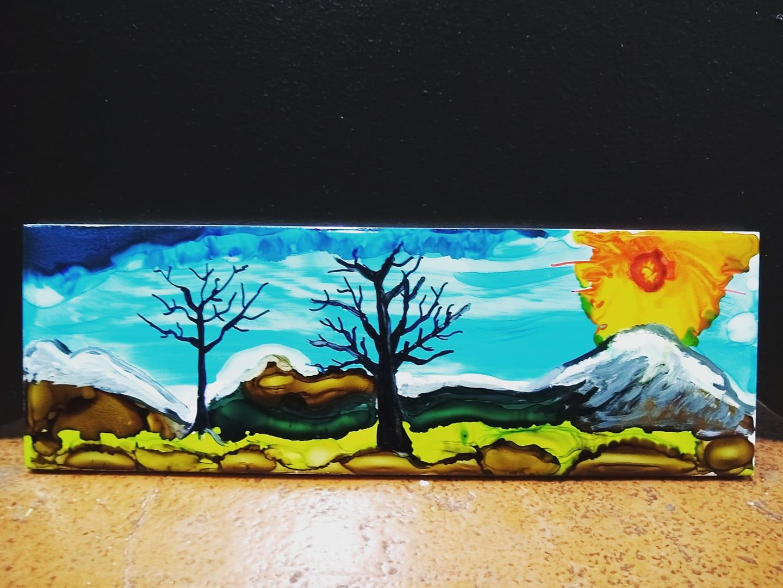 DIY Alcohol Ink Abstract Landscape Tiles Workshop