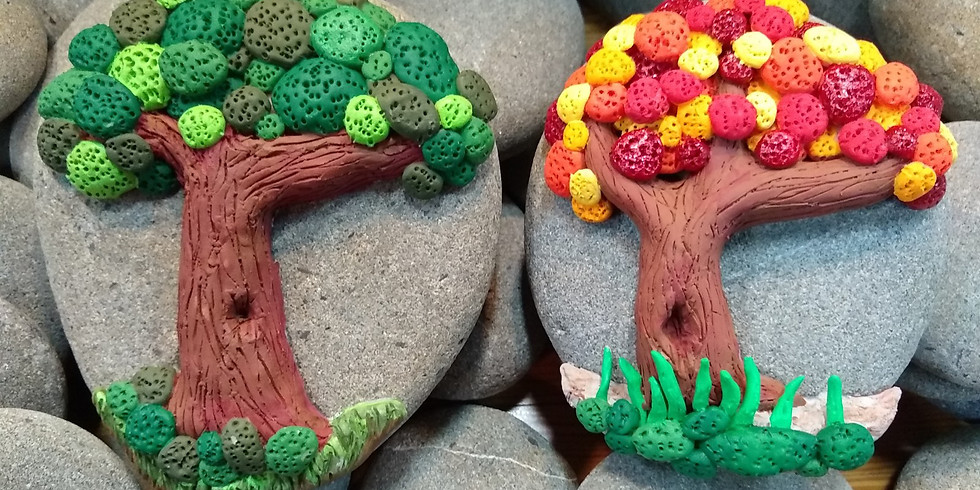 Sculpted 3D Clay Trees